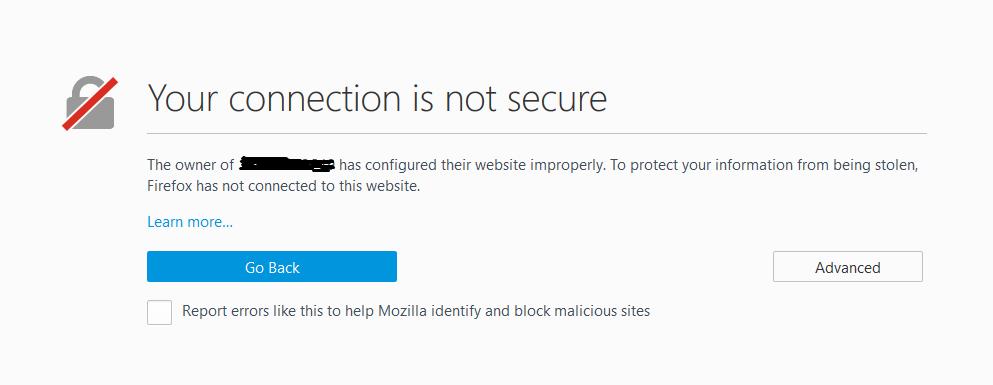 خطا في شهادة حماية SSL كما يظهرها متصفح فيرفوكس